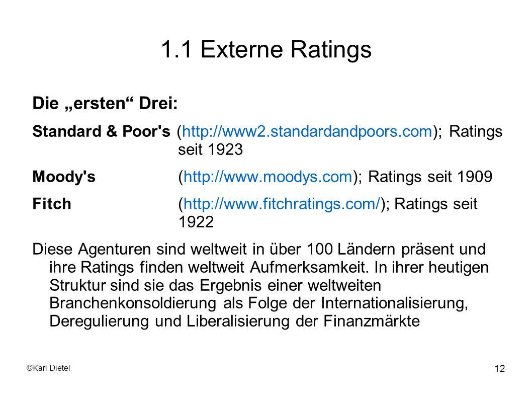 """1.1 Externe Ratings Die """"ersten Drei:"""