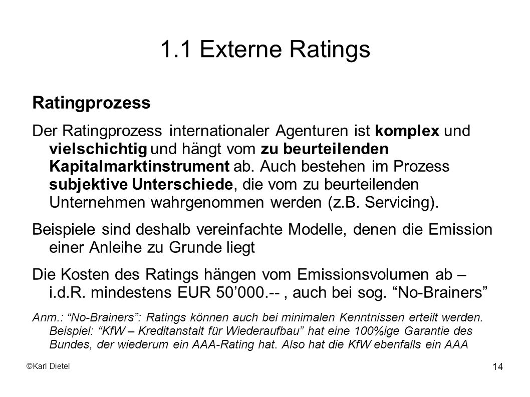 1.1 Externe Ratings Ratingprozess