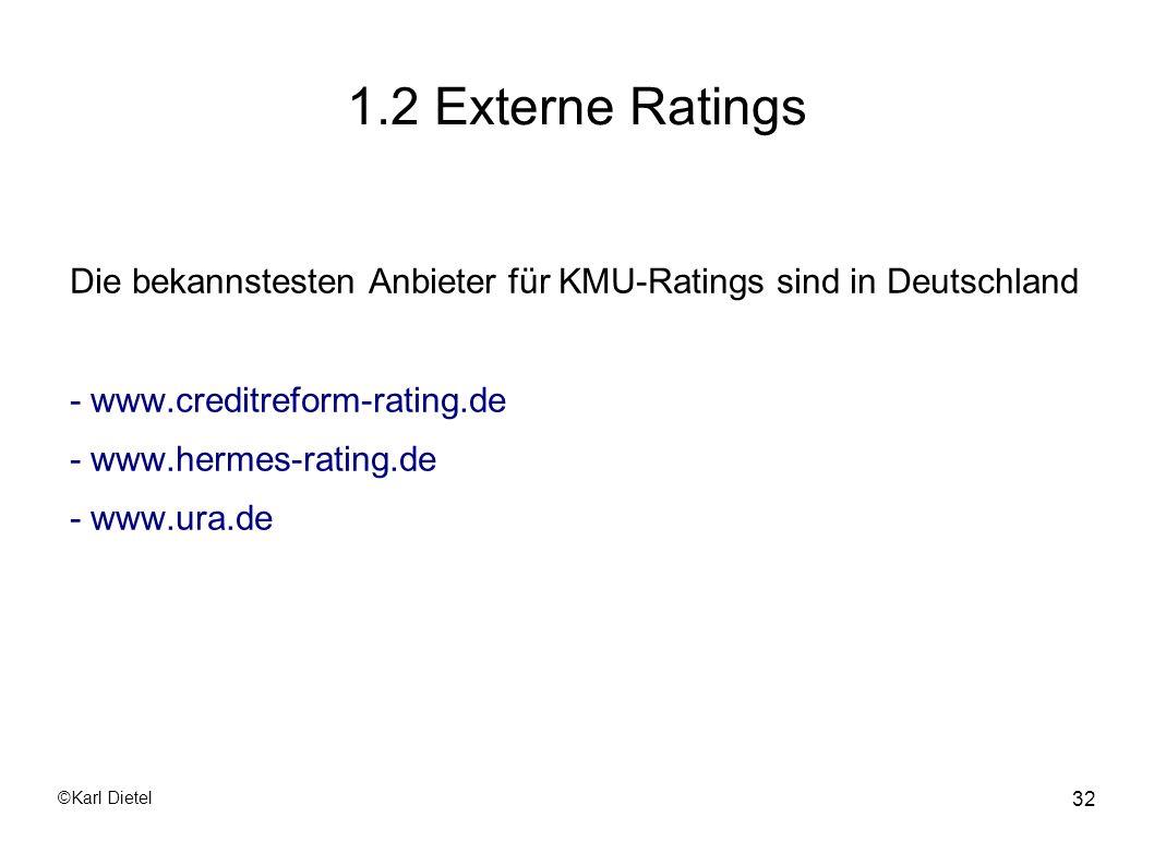 1.2 Externe Ratings Die bekannstesten Anbieter für KMU-Ratings sind in Deutschland. - www.creditreform-rating.de.
