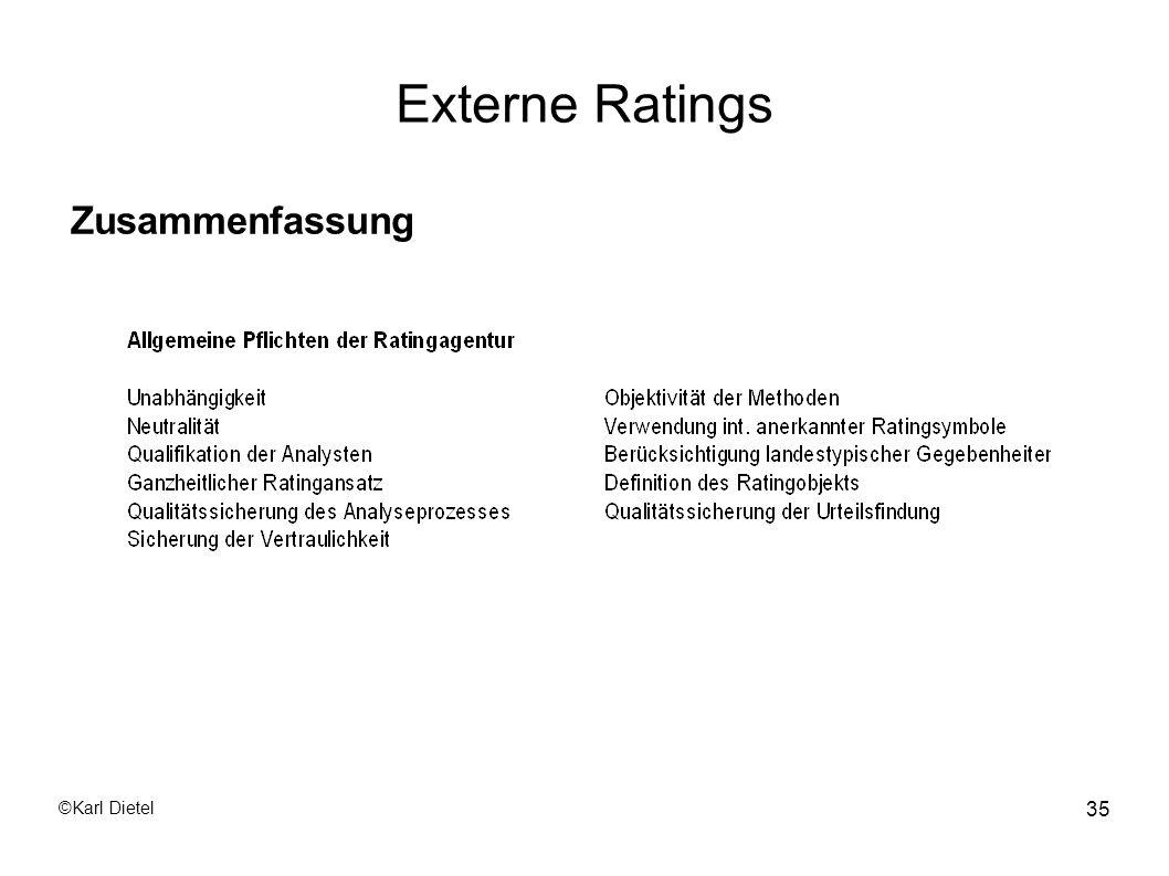 Externe Ratings Zusammenfassung ©Karl Dietel