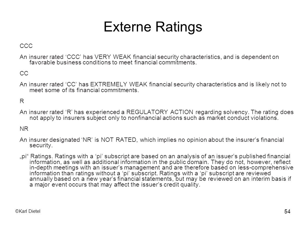Externe Ratings CCC.