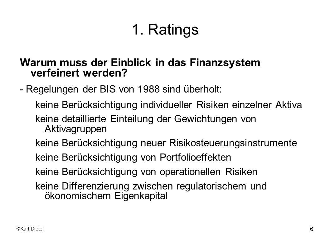 1. Ratings Warum muss der Einblick in das Finanzsystem verfeinert werden - Regelungen der BIS von 1988 sind überholt: