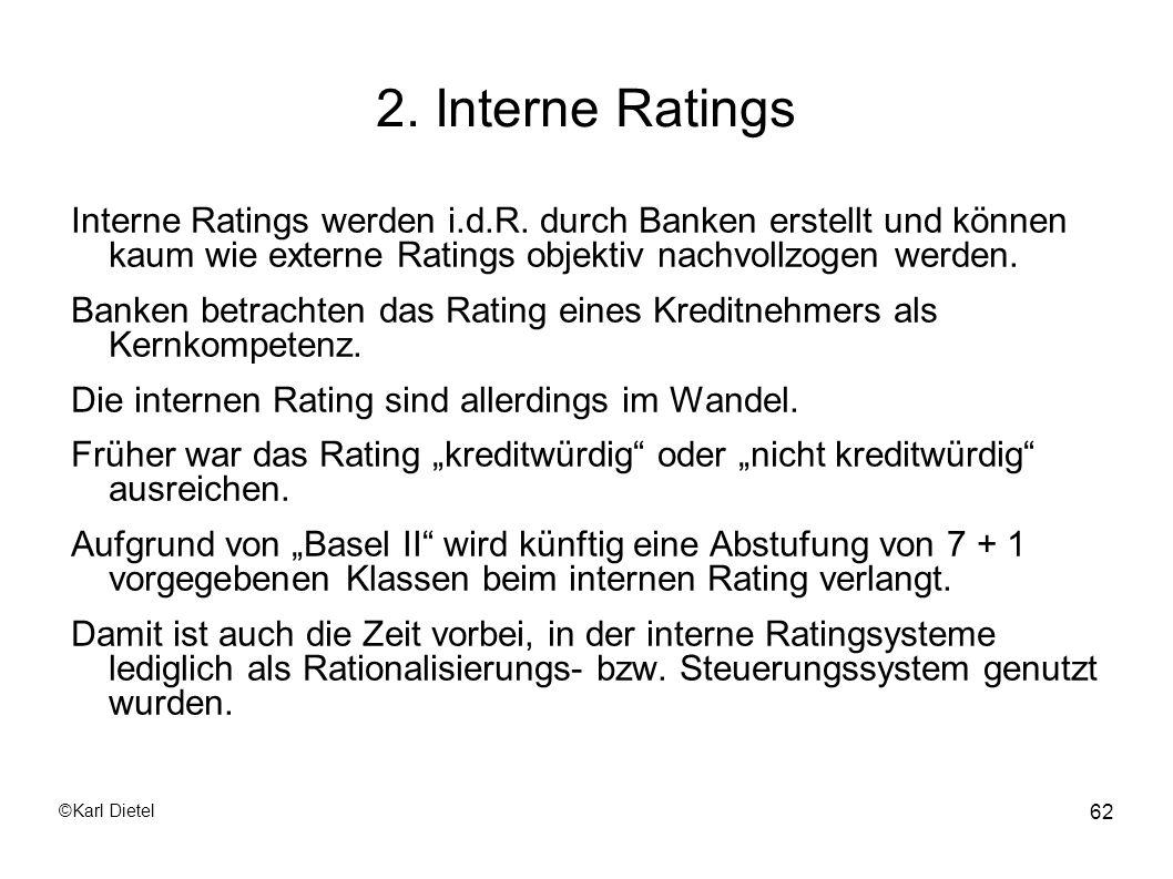2. Interne Ratings Interne Ratings werden i.d.R. durch Banken erstellt und können kaum wie externe Ratings objektiv nachvollzogen werden.