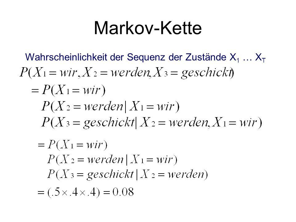 Markov-Kette Wahrscheinlichkeit der Sequenz der Zustände X1 … XT