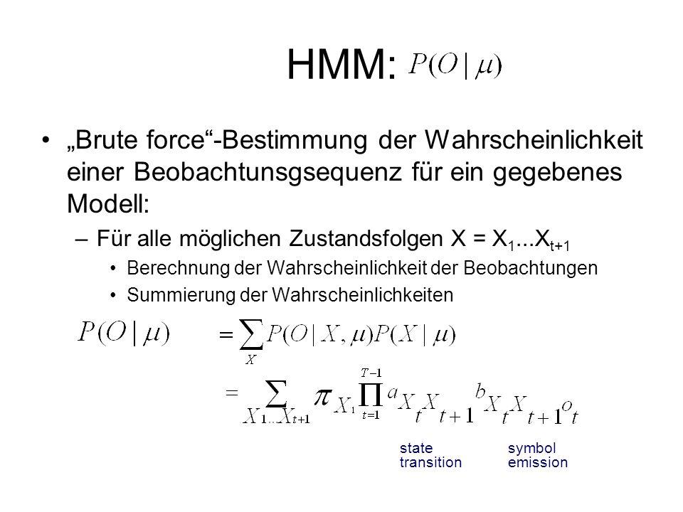 """HMM:""""Brute force -Bestimmung der Wahrscheinlichkeit einer Beobachtunsgsequenz für ein gegebenes Modell:"""