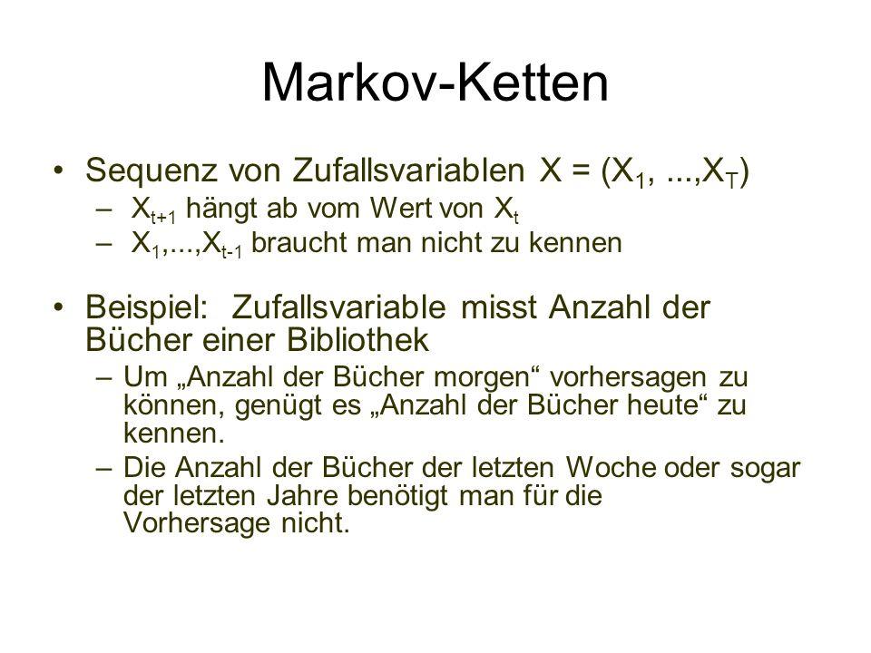 Markov-Ketten Sequenz von Zufallsvariablen X = (X1, ...,XT)