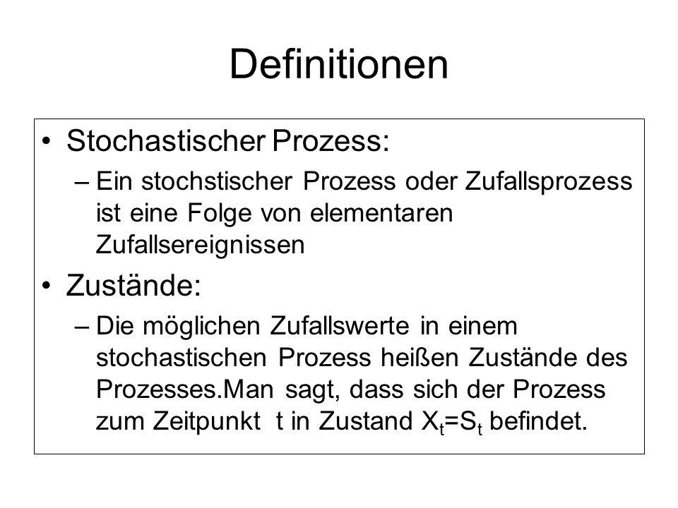 Definitionen Stochastischer Prozess: Zustände: