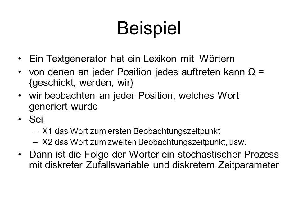 Beispiel Ein Textgenerator hat ein Lexikon mit Wörtern