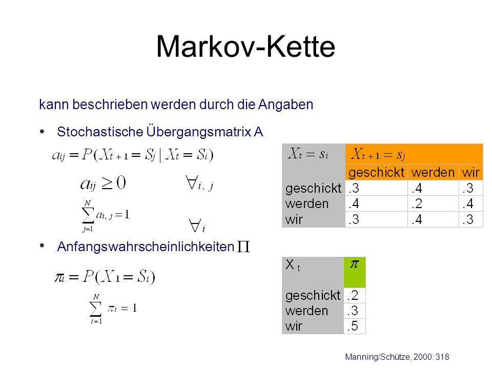 Markov-Kette • • kann beschrieben werden durch die Angaben