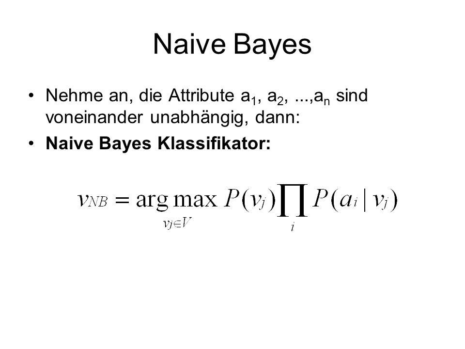 Naive Bayes Nehme an, die Attribute a1, a2, ...,an sind voneinander unabhängig, dann: Naive Bayes Klassifikator: