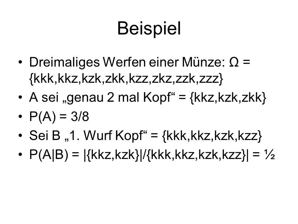 """Beispiel Dreimaliges Werfen einer Münze: Ω = {kkk,kkz,kzk,zkk,kzz,zkz,zzk,zzz} A sei """"genau 2 mal Kopf = {kkz,kzk,zkk}"""