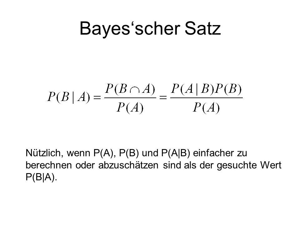Bayes'scher Satz Nützlich, wenn P(A), P(B) und P(A|B) einfacher zu berechnen oder abzuschätzen sind als der gesuchte Wert P(B|A).