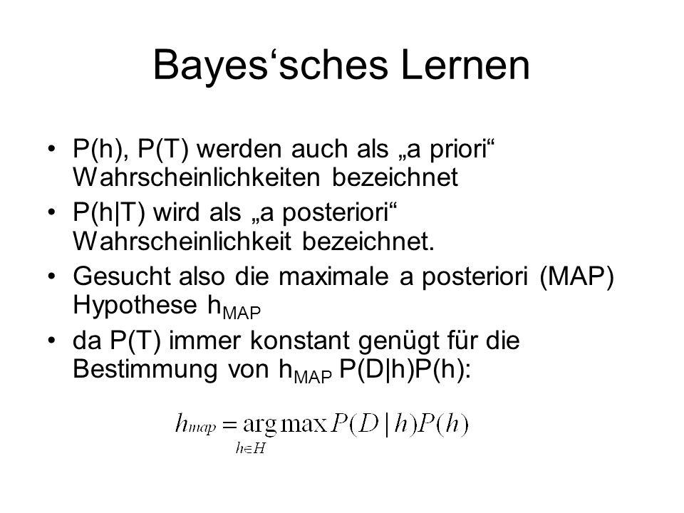 """Bayes'sches Lernen P(h), P(T) werden auch als """"a priori Wahrscheinlichkeiten bezeichnet."""