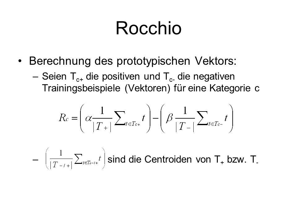 Rocchio Berechnung des prototypischen Vektors: