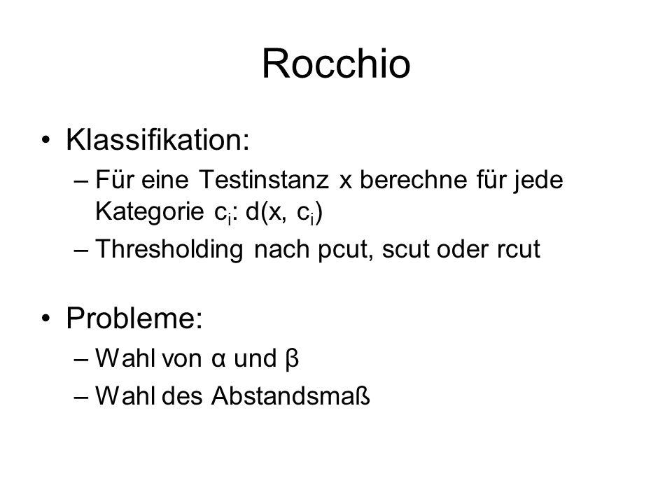 Rocchio Klassifikation: Probleme: