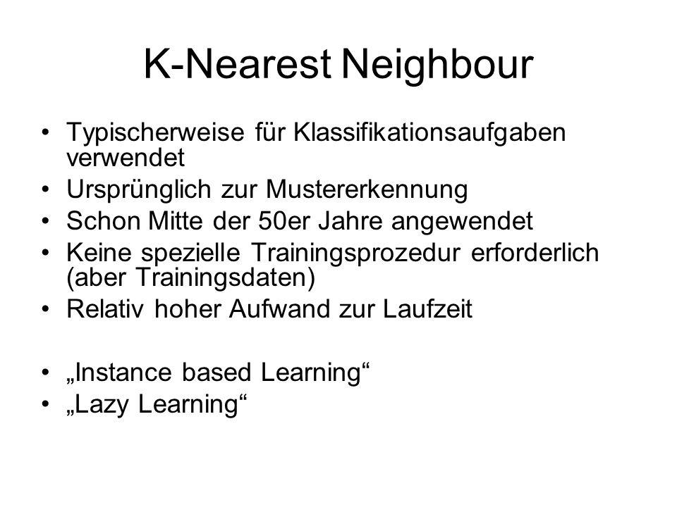 K-Nearest Neighbour Typischerweise für Klassifikationsaufgaben verwendet. Ursprünglich zur Mustererkennung.