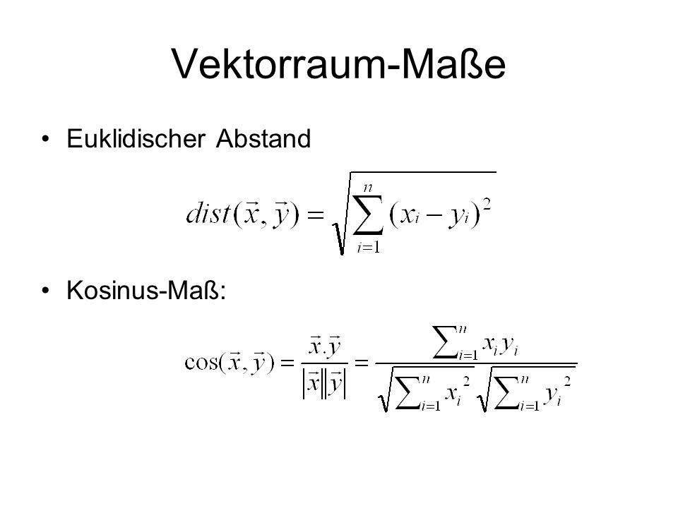 Vektorraum-Maße Euklidischer Abstand Kosinus-Maß: