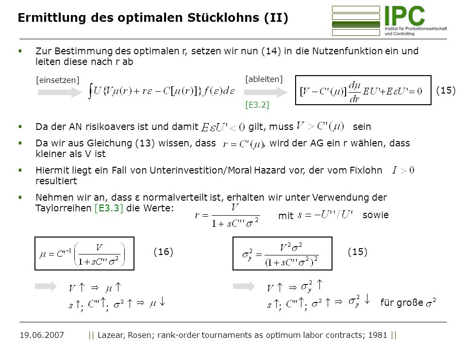 Ermittlung des optimalen Stücklohns (II)