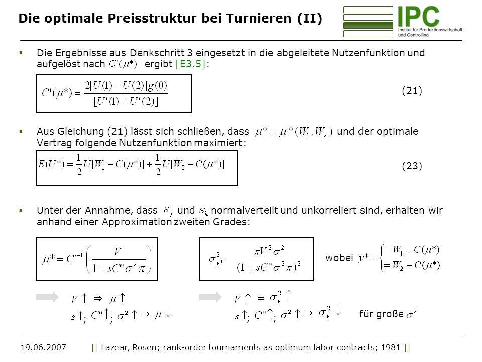 Die optimale Preisstruktur bei Turnieren (II)