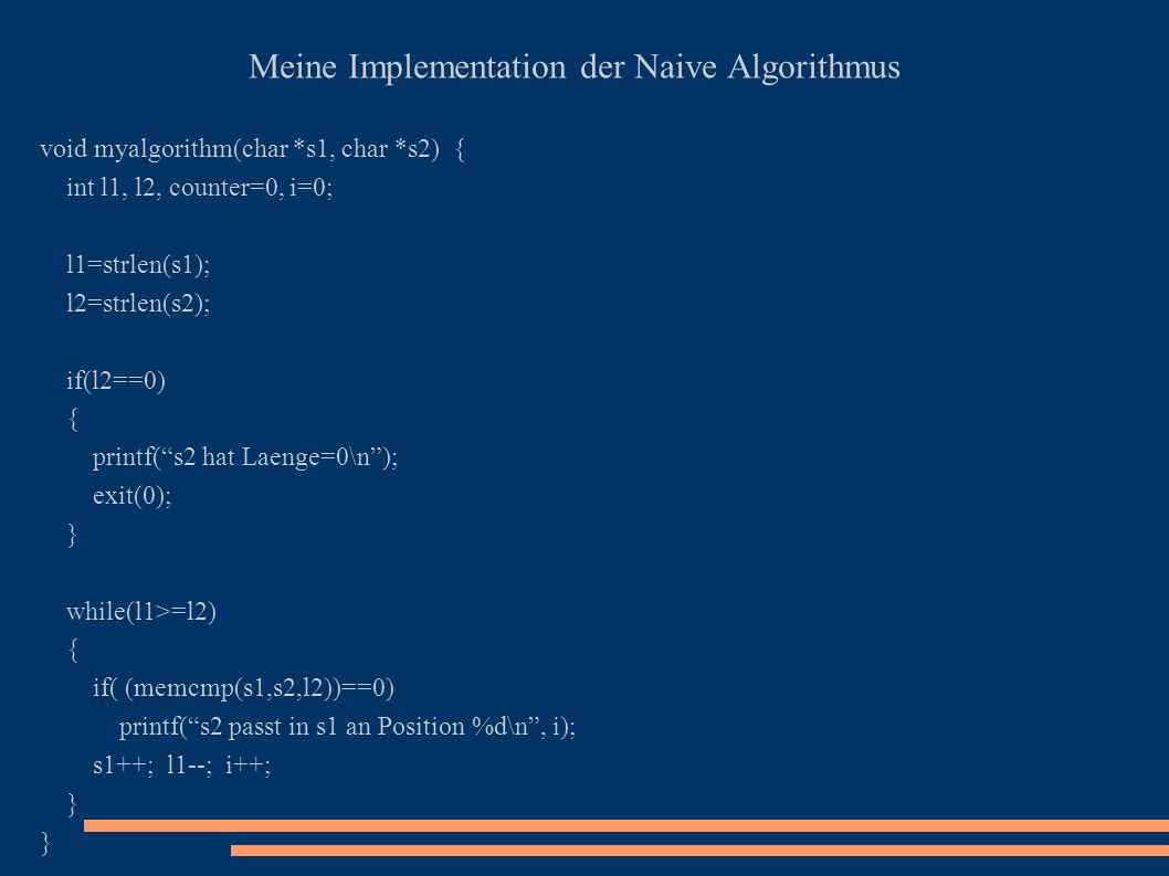 Meine Implementation der Naive Algorithmus