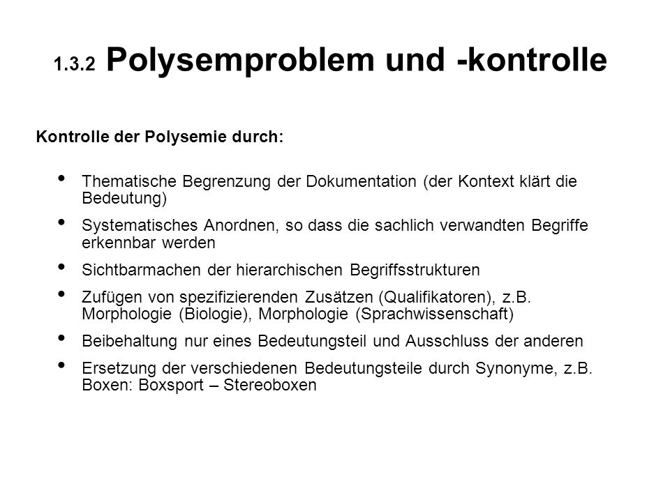 1.3.2 Polysemproblem und -kontrolle