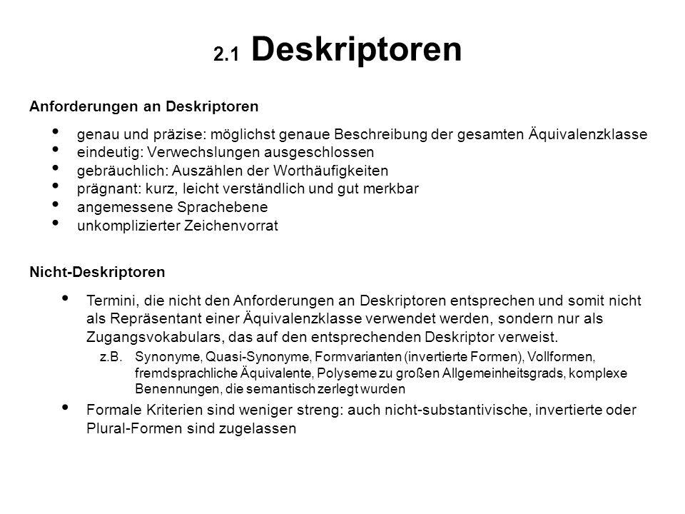 2.1 Deskriptoren Anforderungen an Deskriptoren