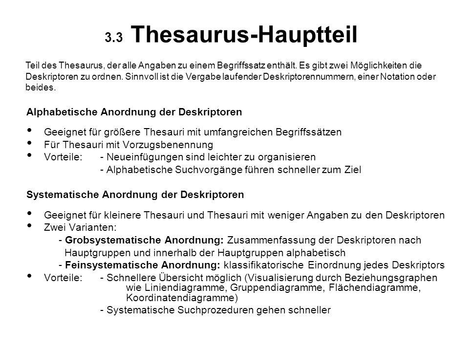 3.3 Thesaurus-Hauptteil Alphabetische Anordnung der Deskriptoren