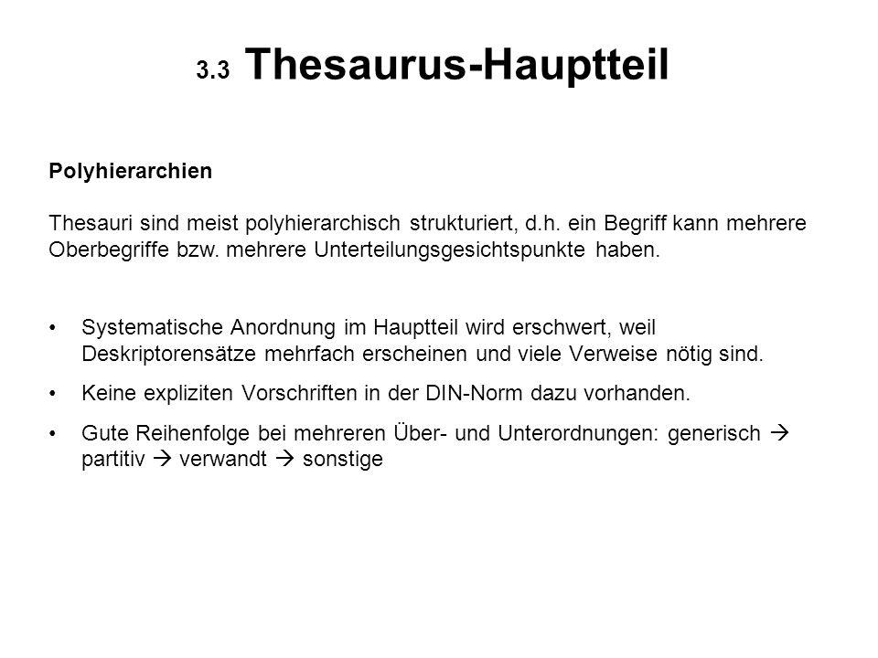 3.3 Thesaurus-Hauptteil Polyhierarchien