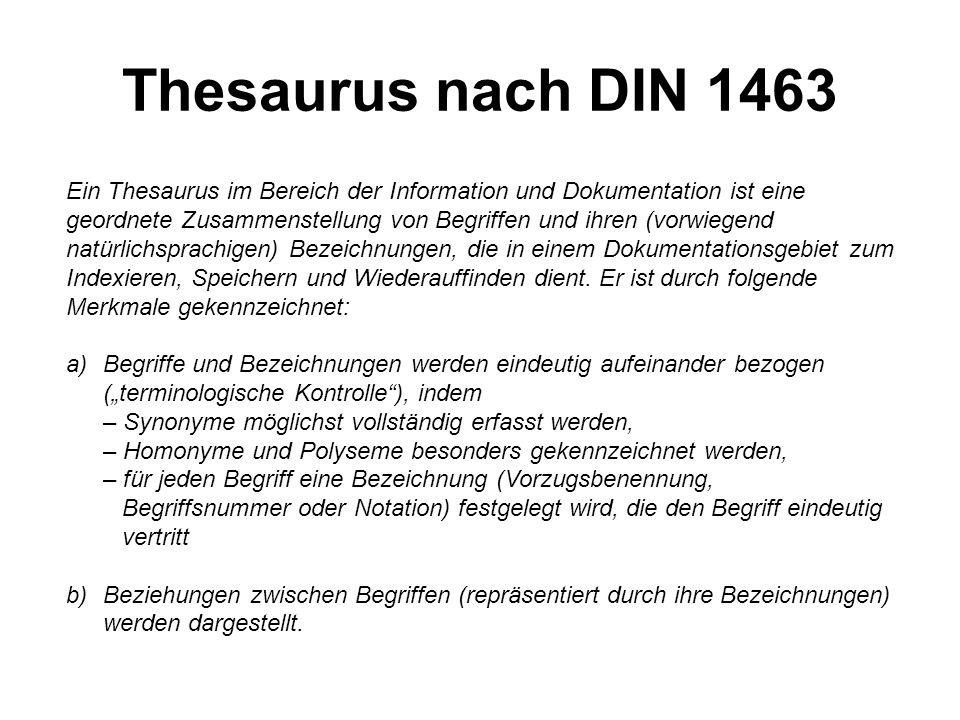 Thesaurus nach DIN 1463