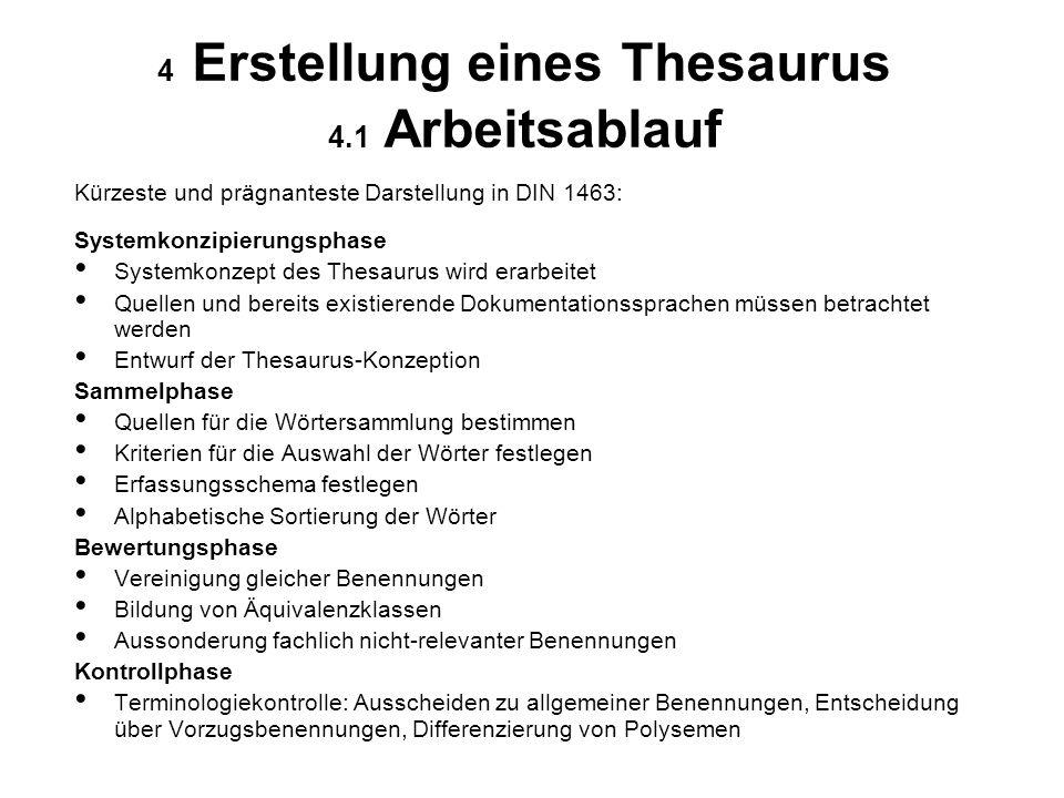 4 Erstellung eines Thesaurus 4.1 Arbeitsablauf