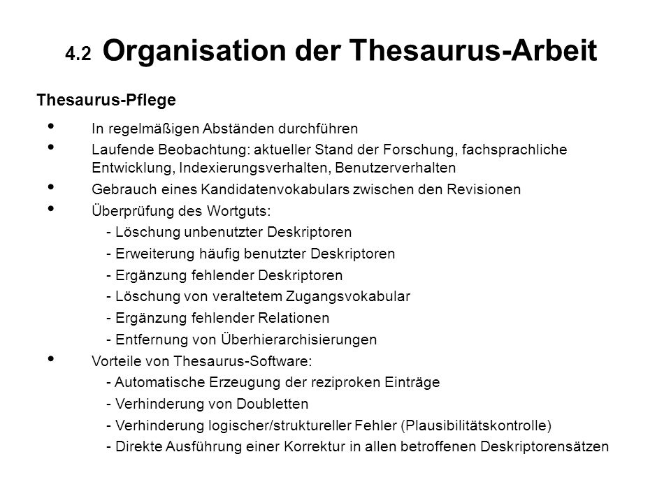 4.2 Organisation der Thesaurus-Arbeit