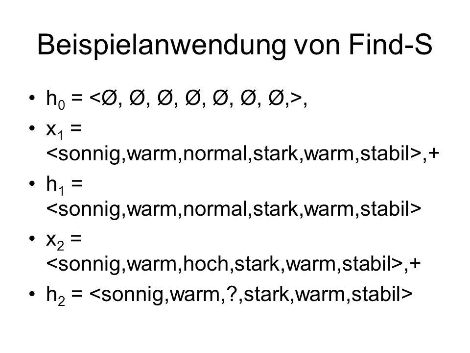 Beispielanwendung von Find-S