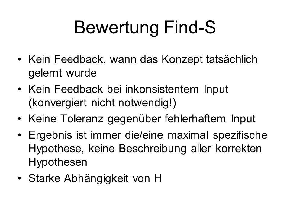 Bewertung Find-S Kein Feedback, wann das Konzept tatsächlich gelernt wurde. Kein Feedback bei inkonsistentem Input (konvergiert nicht notwendig!)