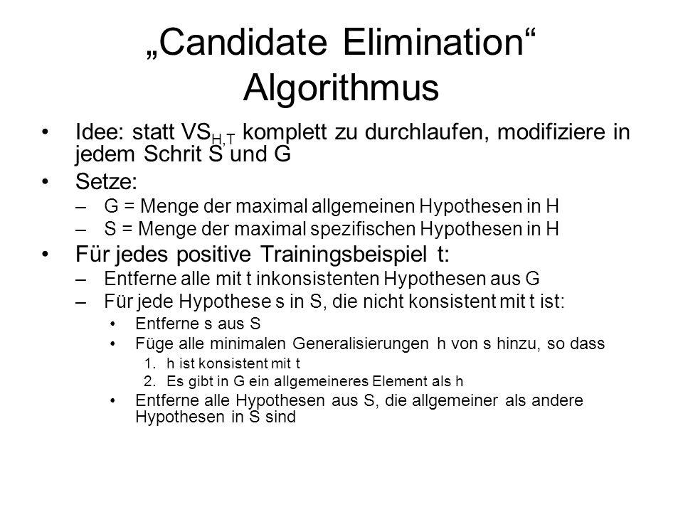 """Candidate Elimination Algorithmus"