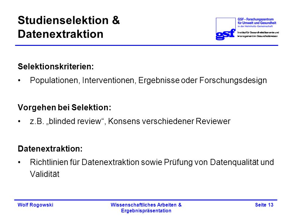 Studienselektion & Datenextraktion