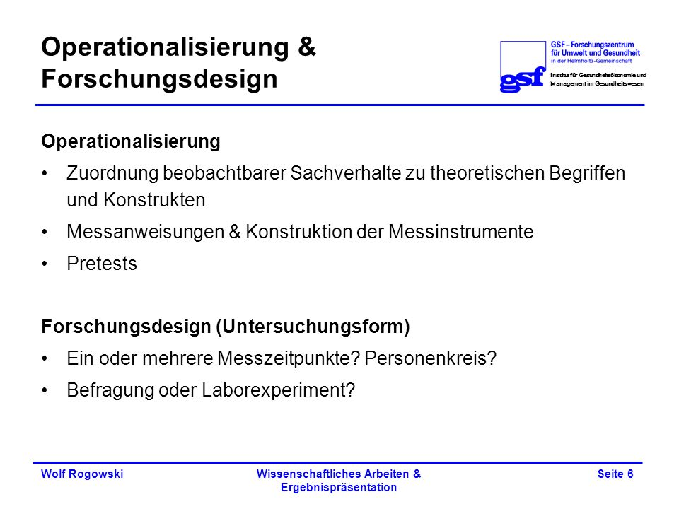Operationalisierung & Forschungsdesign