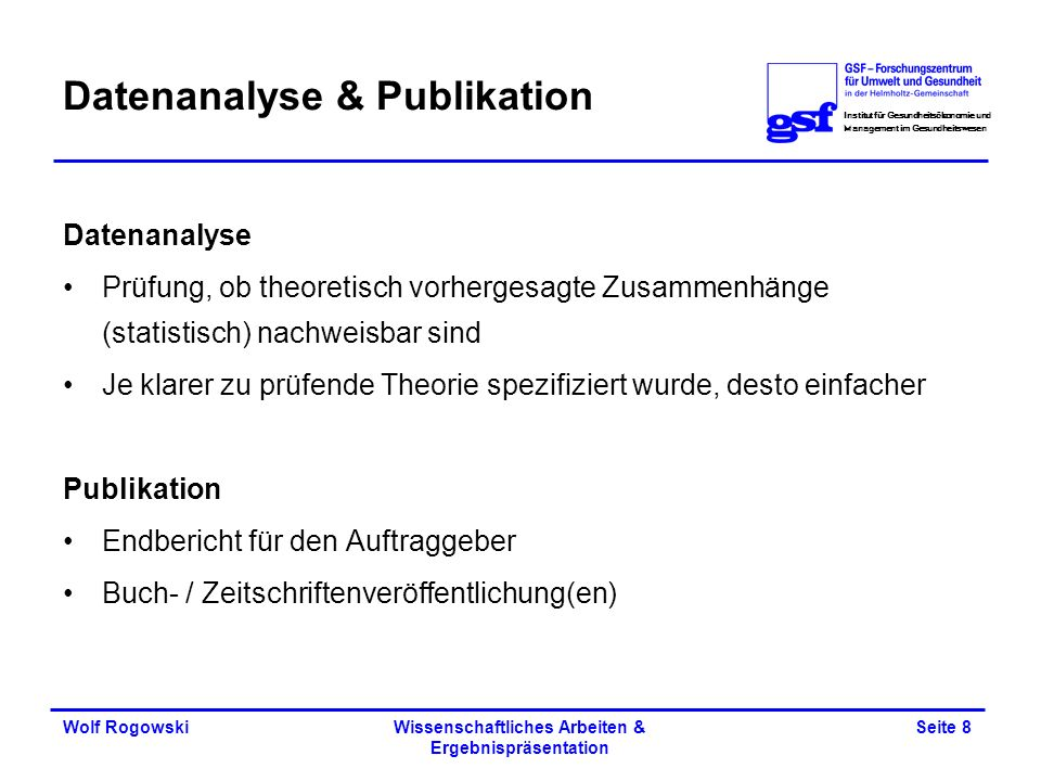 Datenanalyse & Publikation