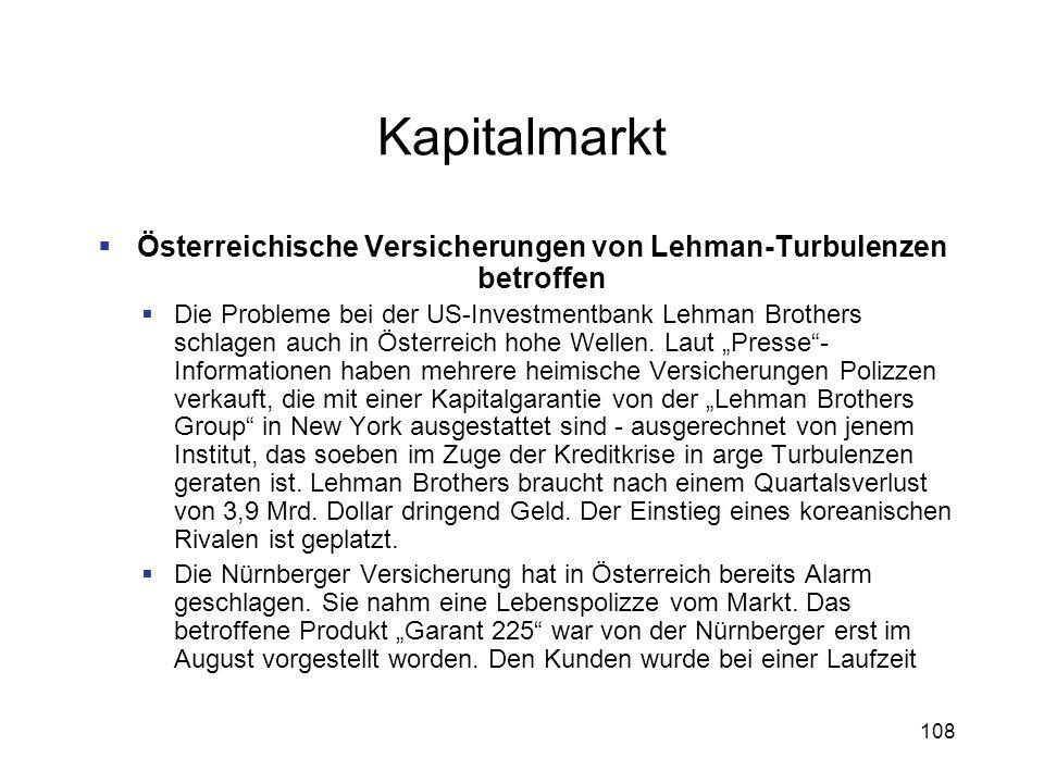 Österreichische Versicherungen von Lehman-Turbulenzen betroffen