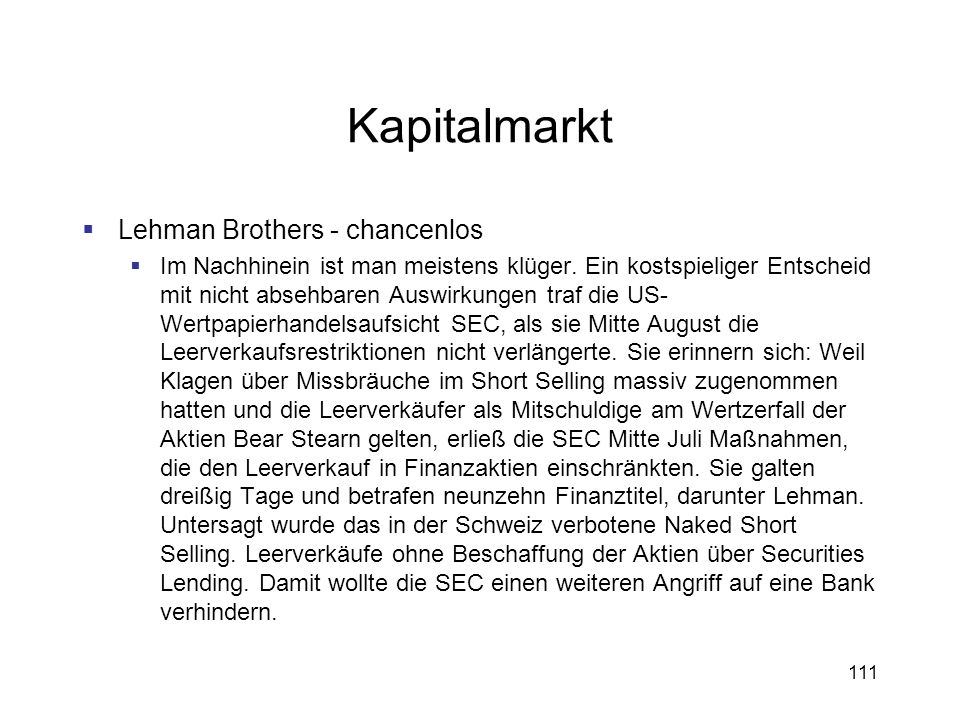 Kapitalmarkt Lehman Brothers - chancenlos