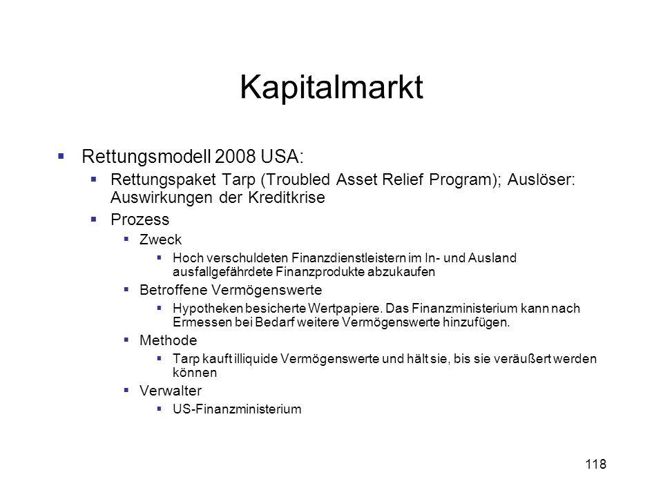 Kapitalmarkt Rettungsmodell 2008 USA: