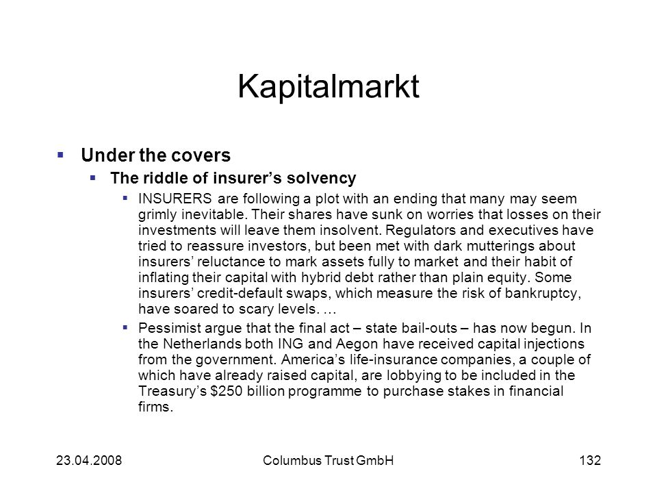 Kapitalmarkt Under the covers The riddle of insurer's solvency