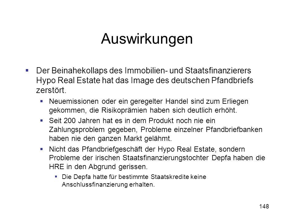 Auswirkungen Der Beinahekollaps des Immobilien- und Staatsfinanzierers Hypo Real Estate hat das Image des deutschen Pfandbriefs zerstört.