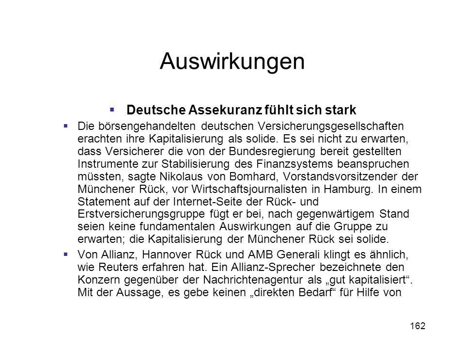 Deutsche Assekuranz fühlt sich stark