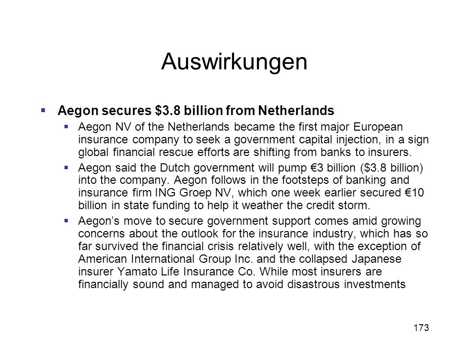 Auswirkungen Aegon secures $3.8 billion from Netherlands
