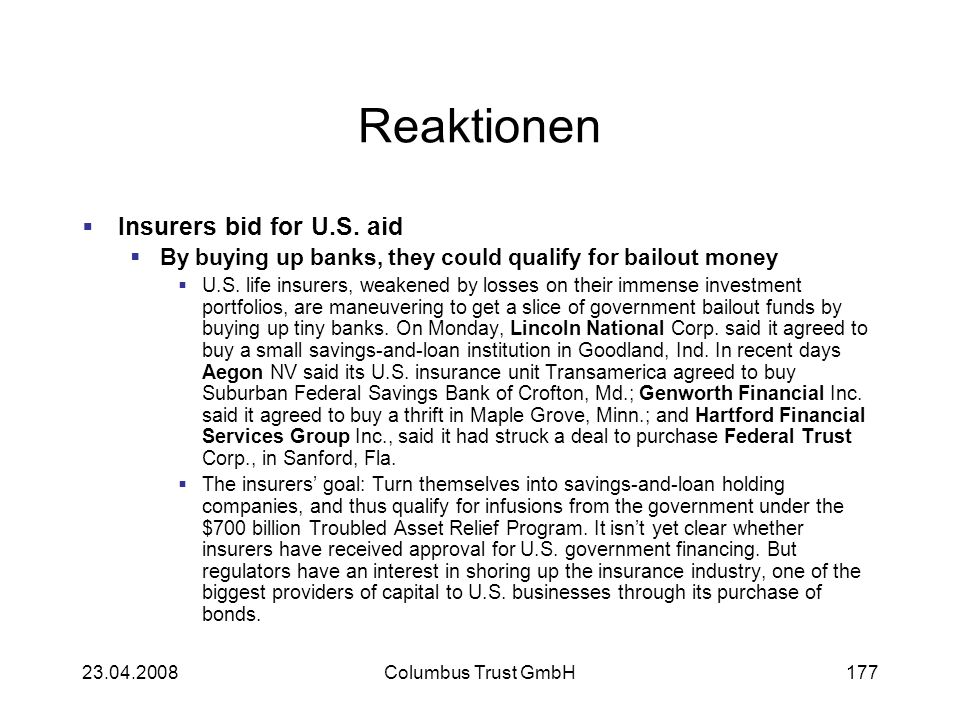 Reaktionen Insurers bid for U.S. aid