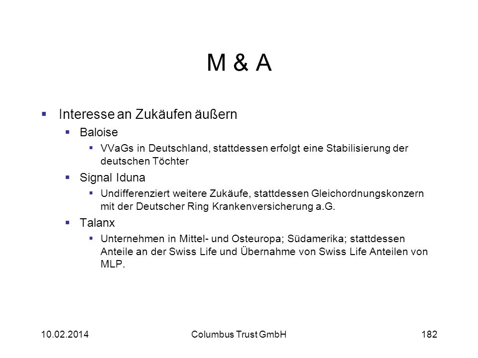 M & A Interesse an Zukäufen äußern Baloise Signal Iduna Talanx