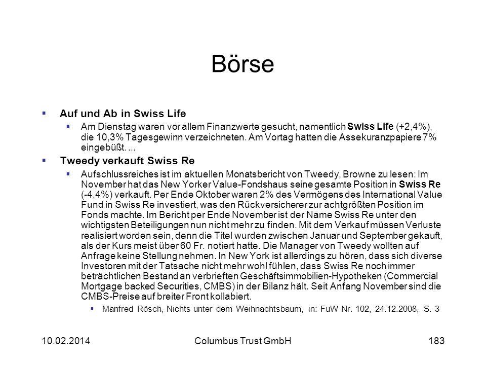 Börse Auf und Ab in Swiss Life Tweedy verkauft Swiss Re