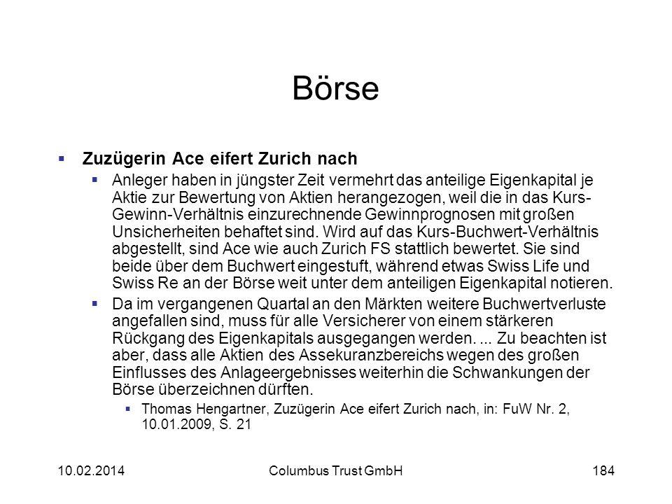 Börse Zuzügerin Ace eifert Zurich nach