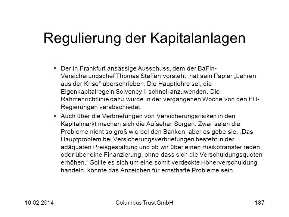 Regulierung der Kapitalanlagen