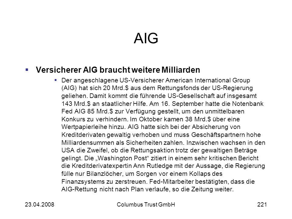 AIG Versicherer AIG braucht weitere Milliarden